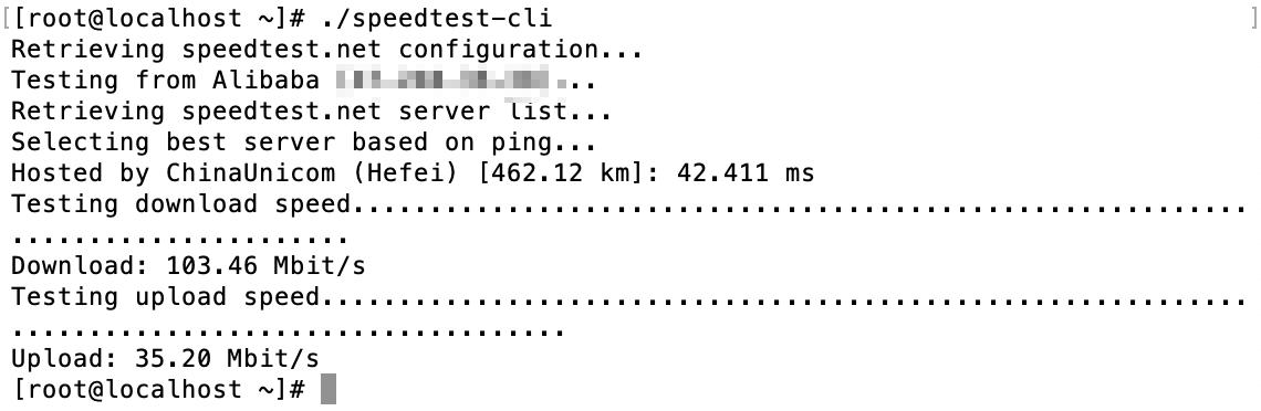 香港阿里云轻量服务器speedtest-cli测速结果