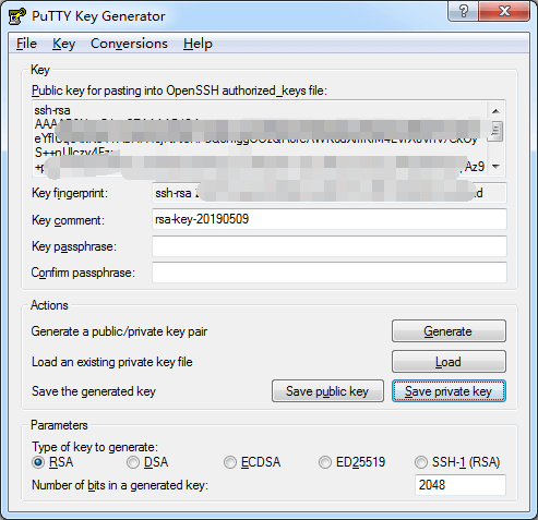 putty创建ssh key