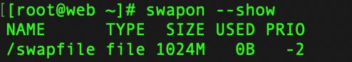 swapon --show 查看 swap 分区情况