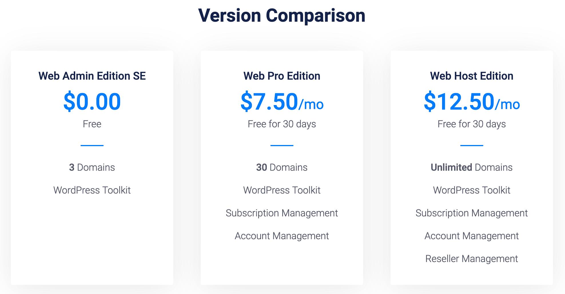 不同 Plesk 版本之间的区别