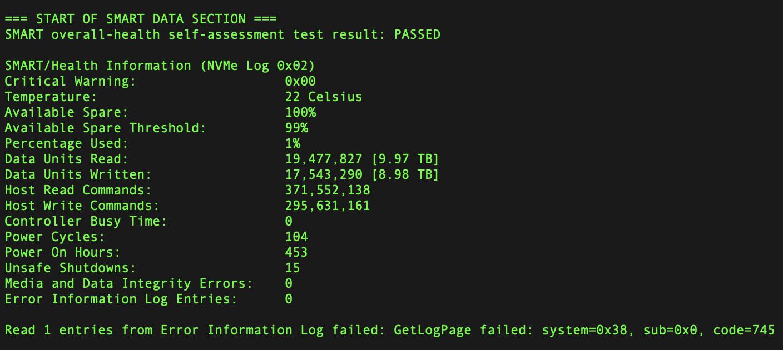 macos 下使用 smartmontools 来查看 SSD 的写入量和损耗值