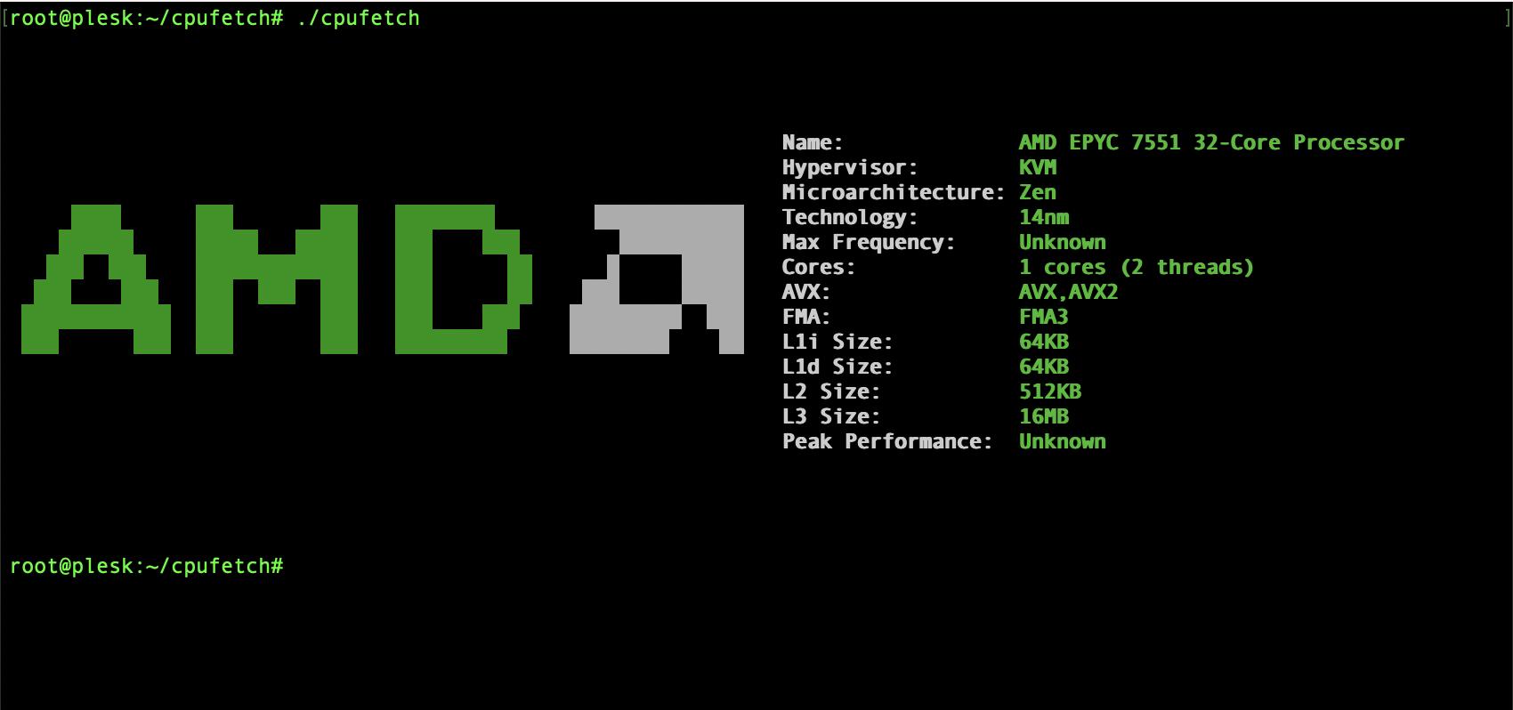 在 Oracle Cloud 免费 VPS 下运行 cpufetch,AMD CPU