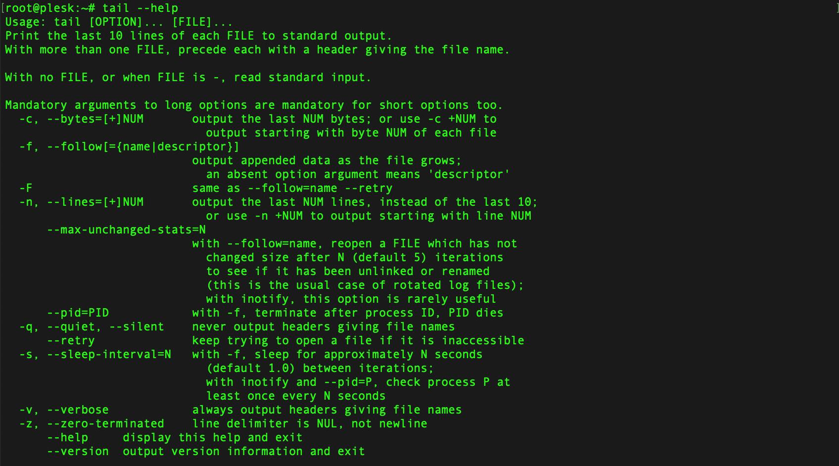 tail 命令的帮助文档