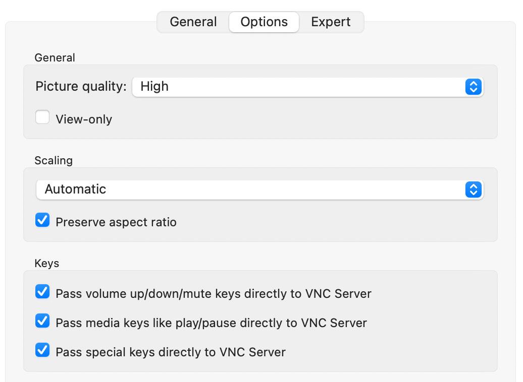 vnc viewer 设置 picture quality 以解决黑屏问题
